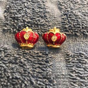 Avon Red Enamel Goldtone Crown Earrings with CZ